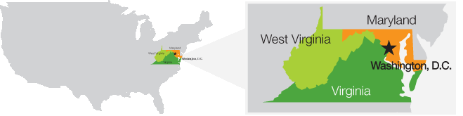 Areas of Virginia, Maryland, West Virginia, and D.C. that PestNow offers Pest Control Services!
